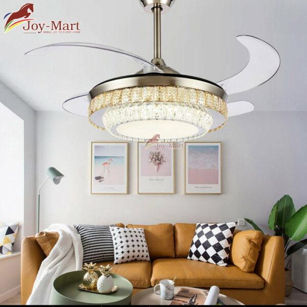 Quạt trần tàng hình thiết kế đèn chùm pha lê cao cấp MQT2171